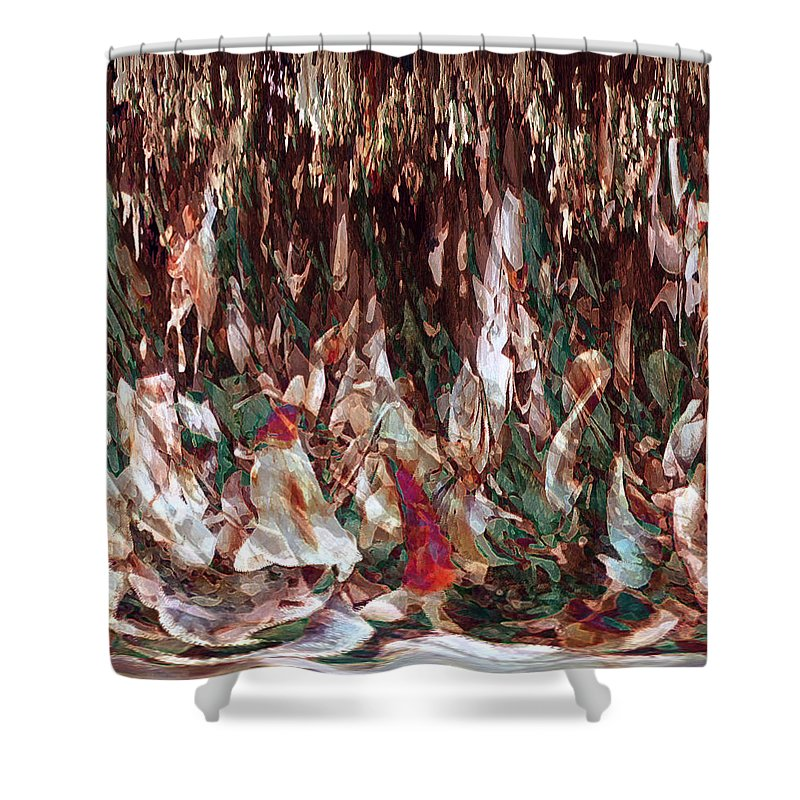 Abstract Art Shower Curtain featuring the digital art Face's Within by Linda Sannuti