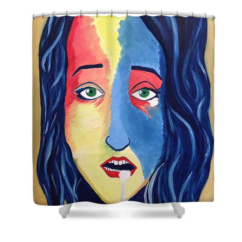 Facial Portrait Woman Modern Green Eyes Mouth Opened Shower Curtain featuring the painting Facial Or Woman With Green Eyes by Costin Tudor