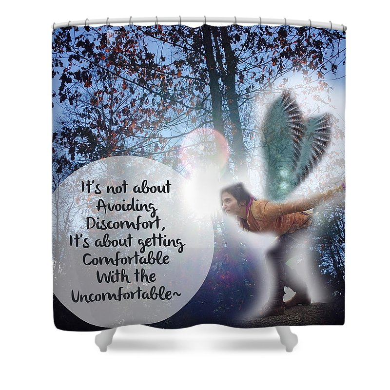 Spiritual Shower Curtain featuring the digital art Facing Fears by Victoria Bulostin