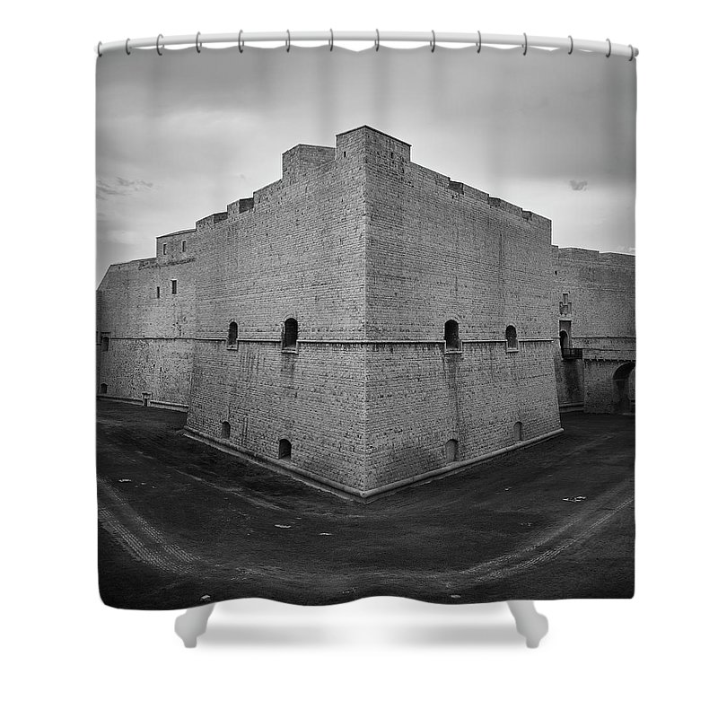 Ancient Shower Curtain featuring the photograph Facing The Edge by Davide Carini