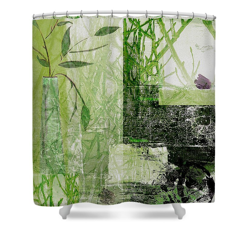 Abstract Shower Curtain featuring the mixed media Faded Floral by Ruth Palmer
