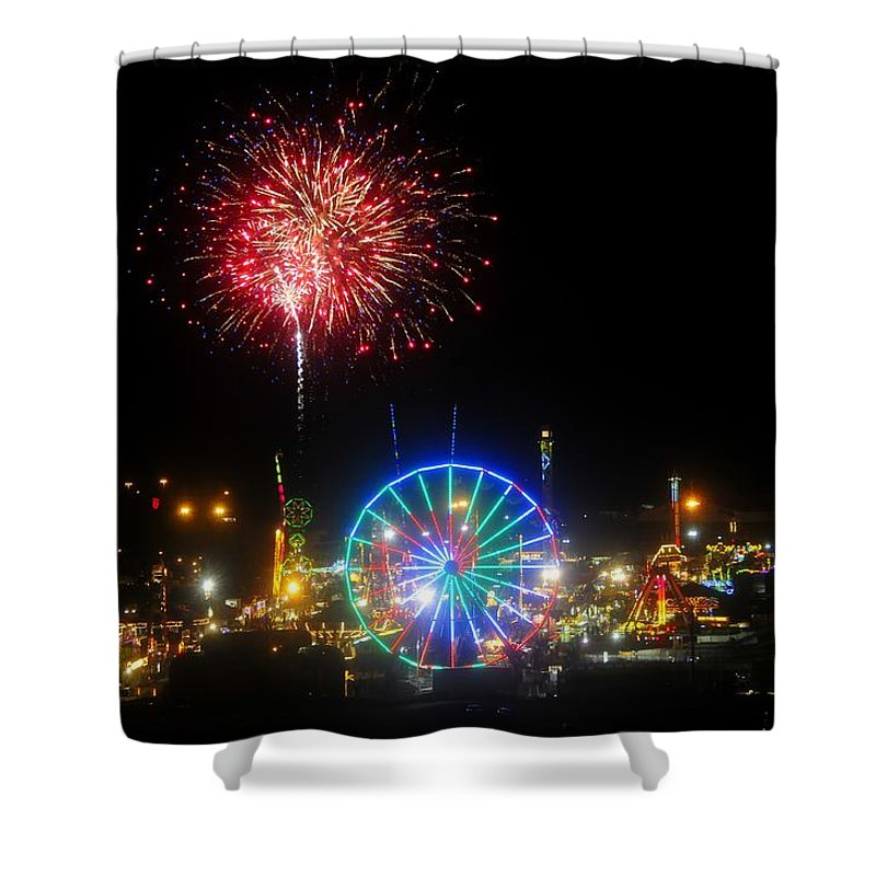 Fireworks Shower Curtain featuring the photograph Fair Fireworks by David Lee Thompson