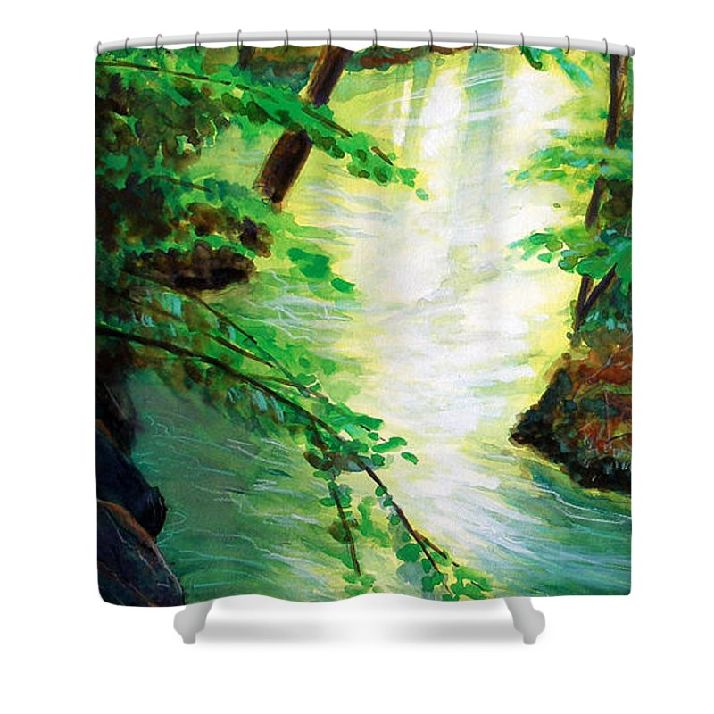 Forest Shower Curtain featuring the painting Fairfax Summer by Ken Meyer