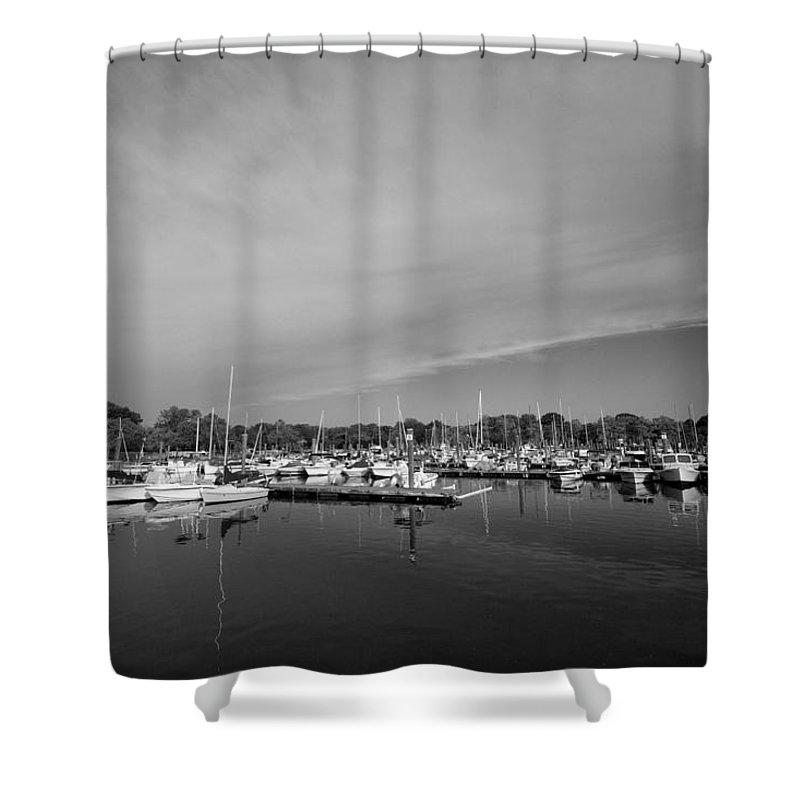 Boats Shower Curtain featuring the photograph Fairfield Marina by Stephanie McDowell