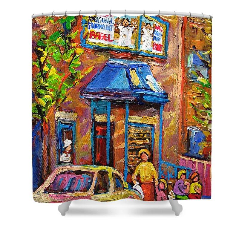 Fairmount Bagel Shower Curtain featuring the painting Fairmount Bagel Fairmount Street Montreal by Carole Spandau