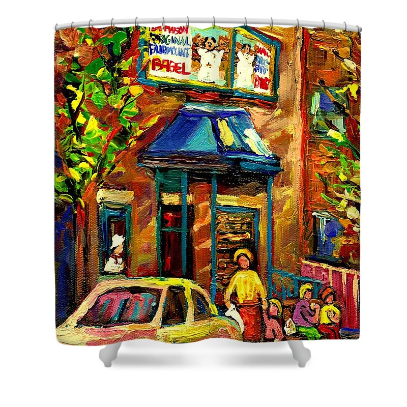 Fairmount Bagel Shower Curtain featuring the painting Fairmount Bagel In Montreal by Carole Spandau