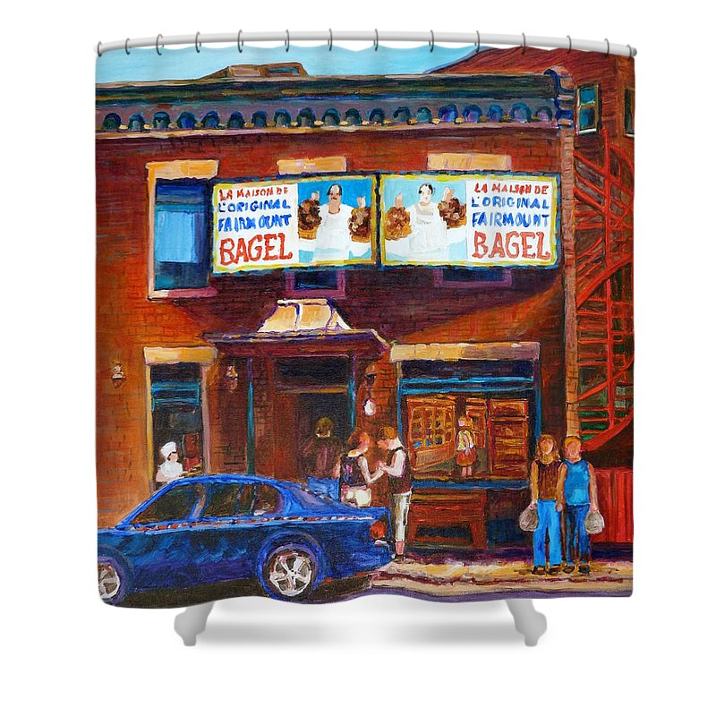 Fairmount Bagel Shower Curtain featuring the painting Fairmount Bagel With Blue Car by Carole Spandau