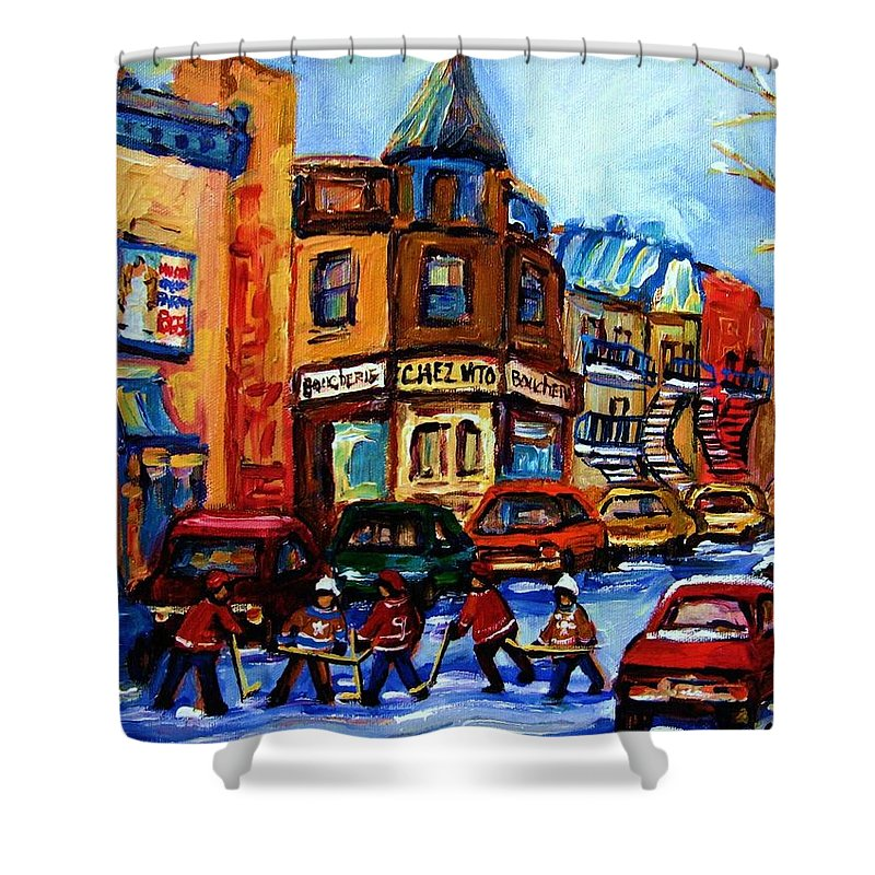 Hockey Shower Curtain featuring the painting Fairmount Bagel With Hockey Game by Carole Spandau