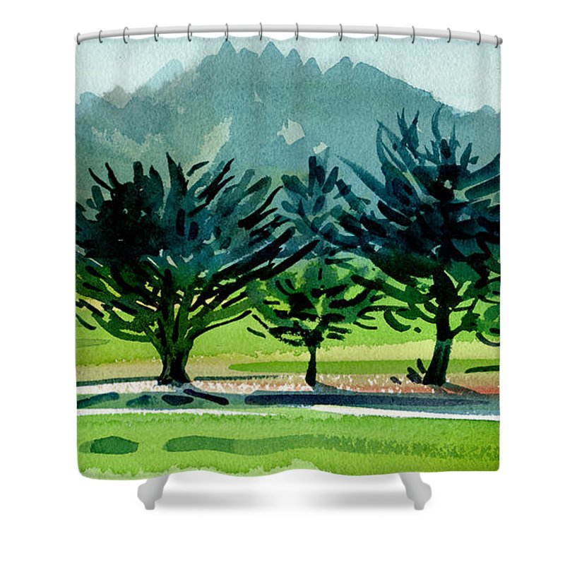 Crystal Springs Shower Curtain featuring the painting Fairway Junipers by Donald Maier