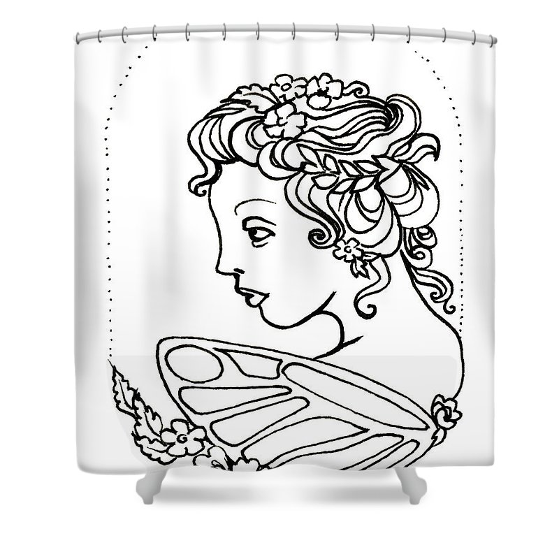 Fairy Shower Curtain featuring the drawing Fairy Cameo by Katherine Nutt