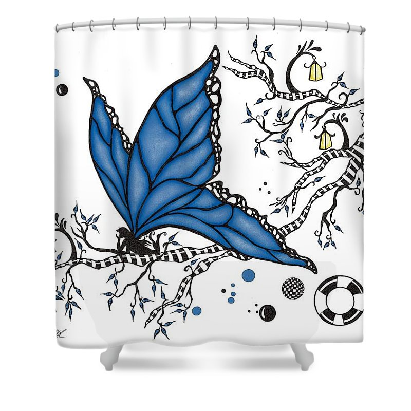 Fairy Shower Curtain featuring the drawing Fairy Fly by Cathy Nestroyl