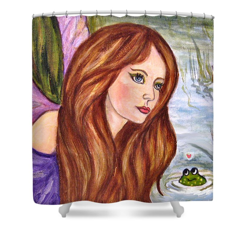 Swamp Fairy Shower Curtain featuring the painting Fairy by Frances Gillotti