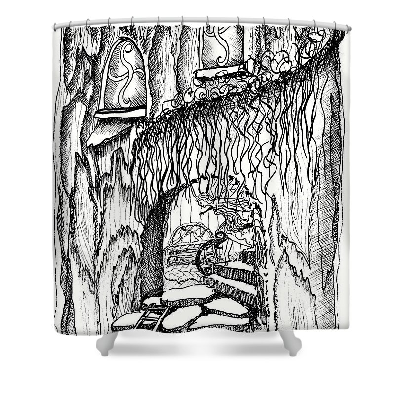 #dawndboyer Shower Curtain featuring the drawing Fairy On Stairs Tree Fairy Home by Dawn Boyer