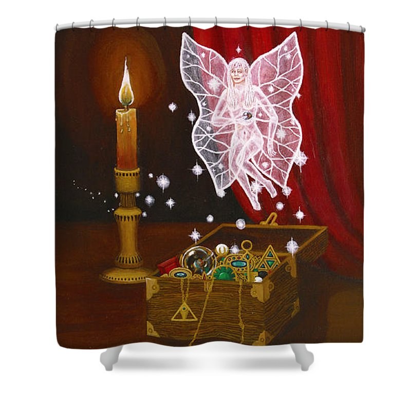 Fairy Shower Curtain featuring the painting Fairy Treasure by Roz Eve