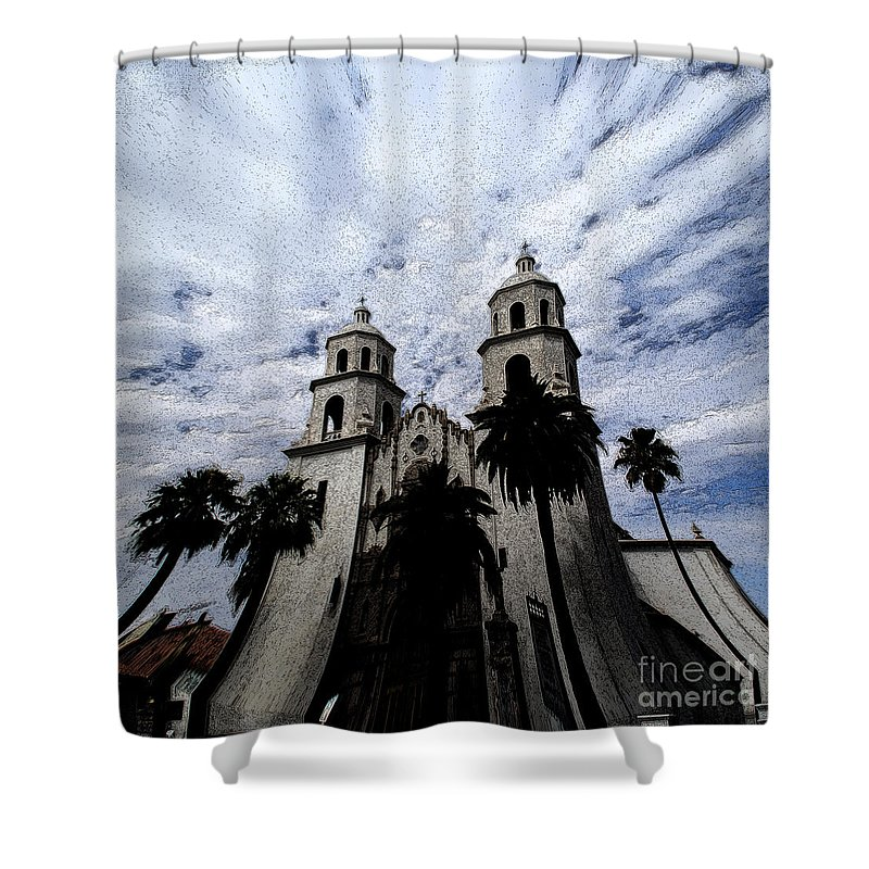Cathedral Shower Curtain featuring the photograph Faith Arizona by Linda Shafer