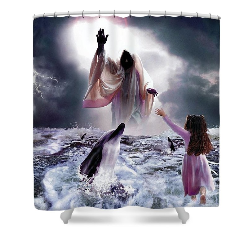 Children Shower Curtain featuring the digital art Faith by Bill Stephens