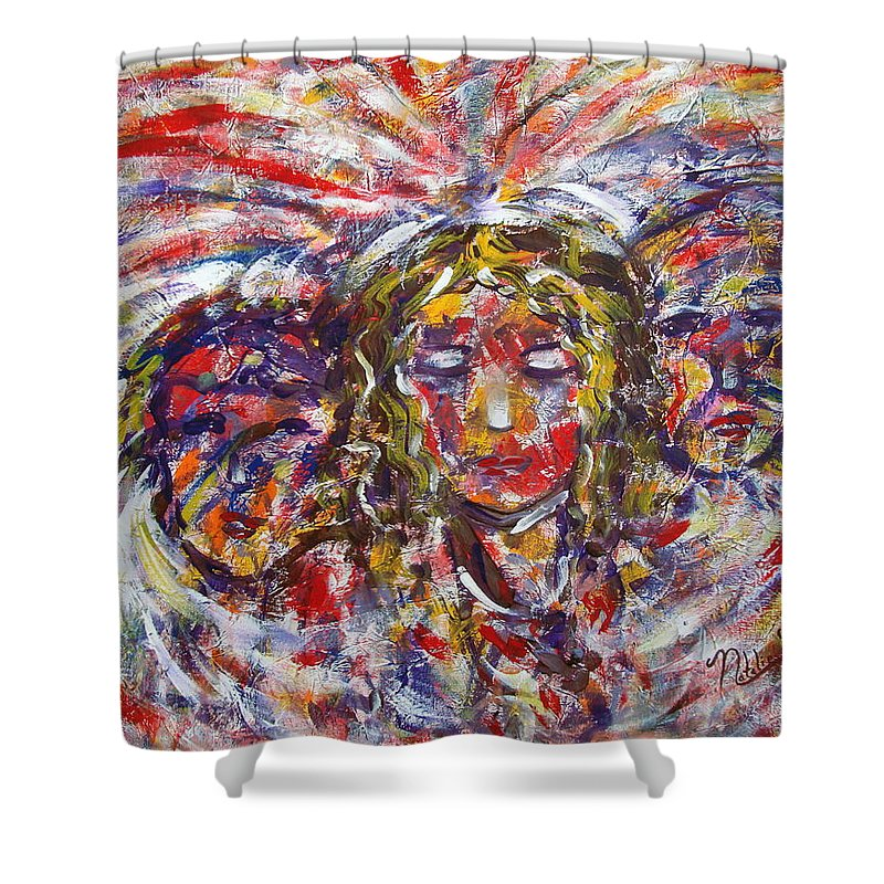 Woman Shower Curtain featuring the painting Faith Hope And Love by Natalie Holland