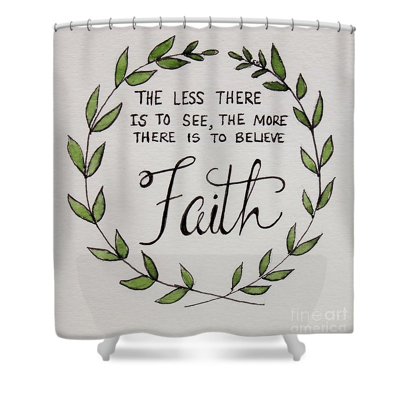 Faith Shower Curtain Featuring The Painting Laurel Wreath By Elizabeth Robinette Tyndall