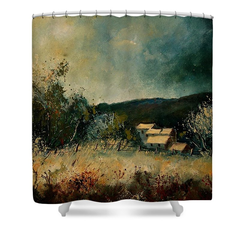 Village Shower Curtain featuring the painting Fall 4590 by Pol Ledent