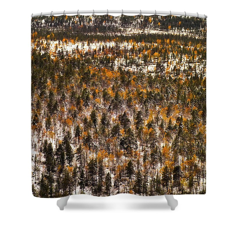 Europe Shower Curtain featuring the photograph Fall And Winter On The Same Day by Heiko Koehrer-Wagner