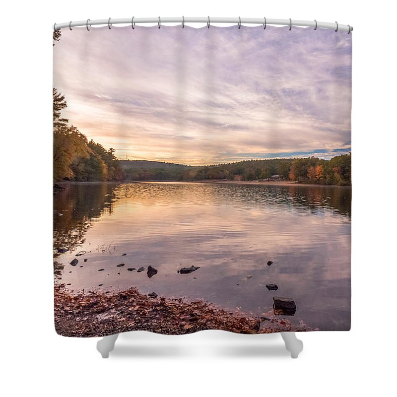 New England Shower Curtain featuring the photograph Fall At The Pond by Brian MacLean