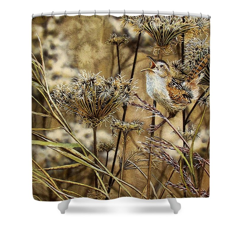 Marsh Shower Curtain featuring the painting Fall Call by Greg and Linda Halom