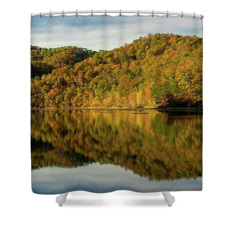 Fall Shower Curtain featuring the photograph Fall Colors On Lake Reflection by Cris Ritchie
