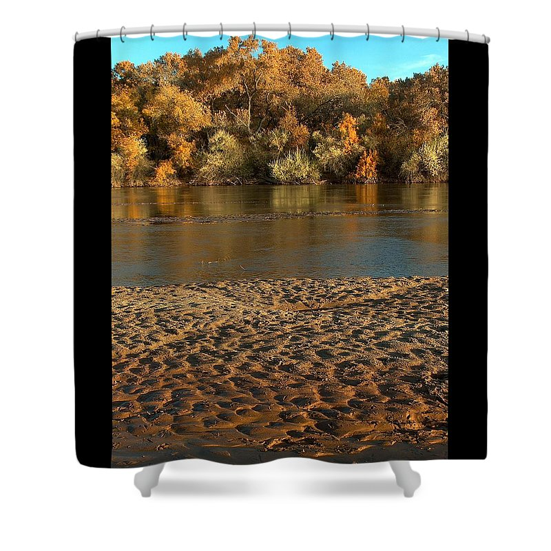 Fall Colors Shower Curtain featuring the photograph Fall Colors On The Rio Grande 1 by Tim McCarthy