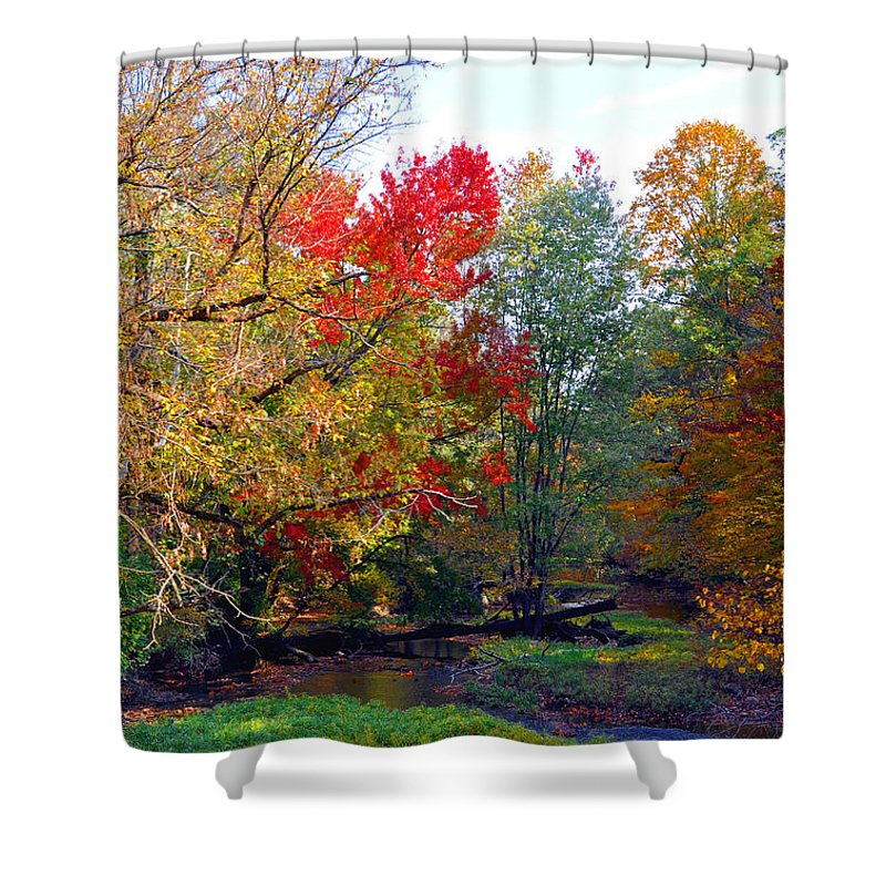 Autumn Reflections Shower Curtain featuring the photograph Fall Creek by Brittany Horton