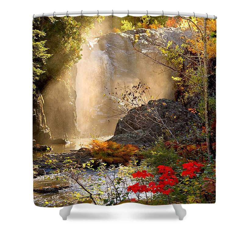 Fall Shower Curtain featuring the photograph Fall Falls Mist Dead River Falls Marquette Mi by Michael Bessler