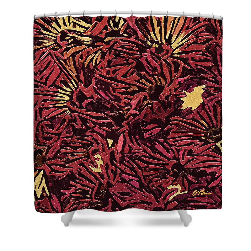 Fall Shower Curtain featuring the digital art Fall Fantasy Flowers by Claudia O'Brien