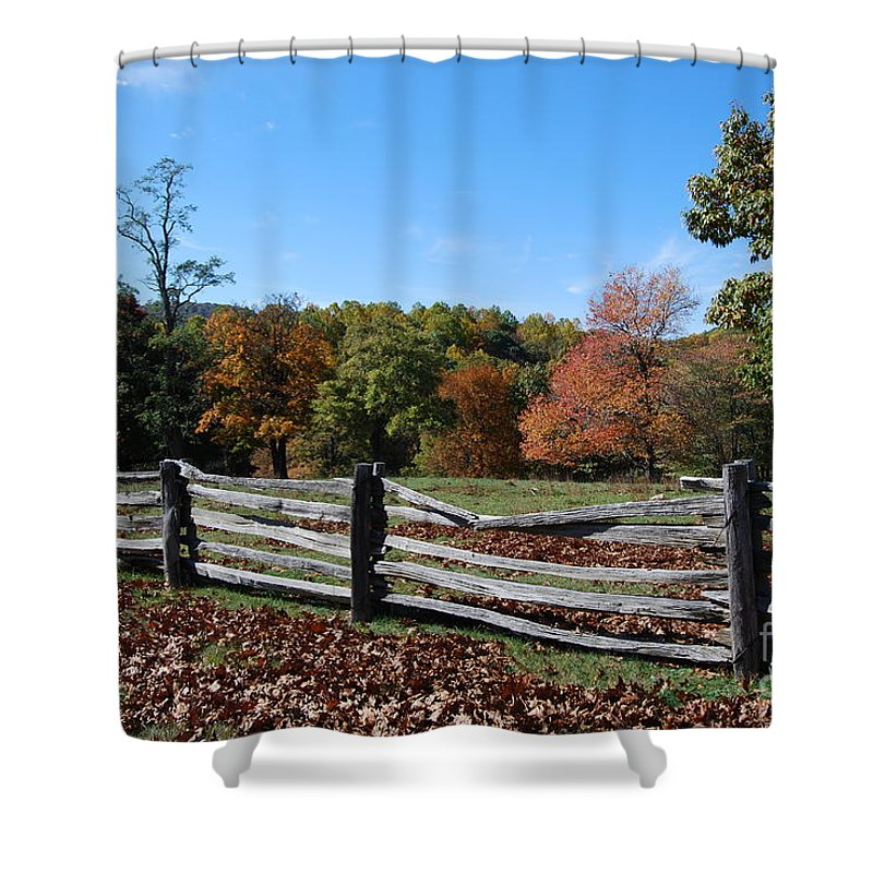 Rural Shower Curtain featuring the photograph Fall Fence by Eric Liller