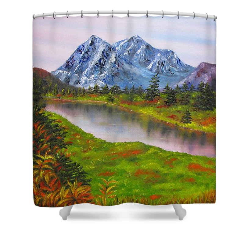 Fall Shower Curtain featuring the painting Fall In Mountains Landscape Oil Painting by Natalja Picugina