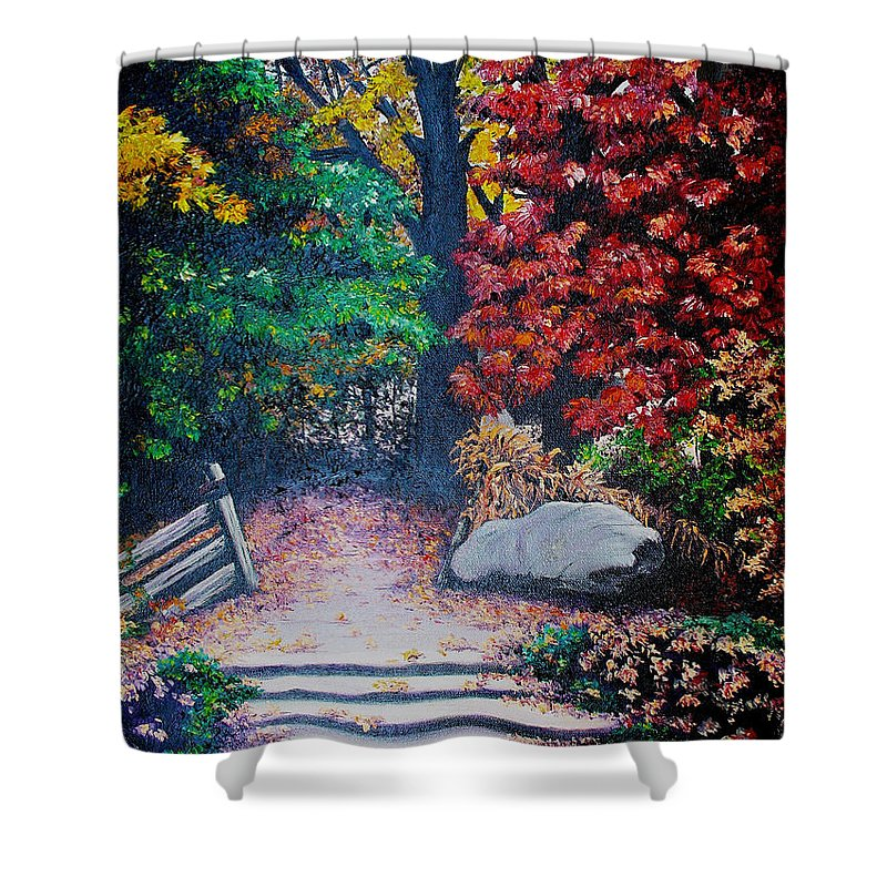A N Original Painting Of An Autumn Scene In The Gateneau In Quebec Shower Curtain featuring the painting Fall In Quebec Canada by Karin Dawn Kelshall- Best