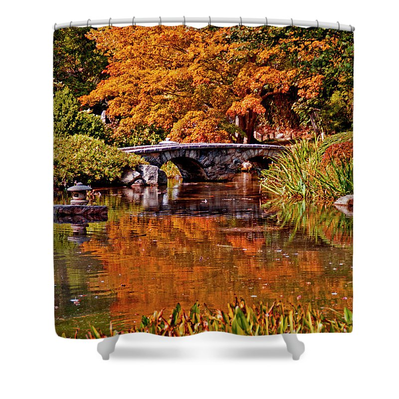 Fall Shower Curtain featuring the photograph Fall In The Japanese Gardens by Jean Haynes