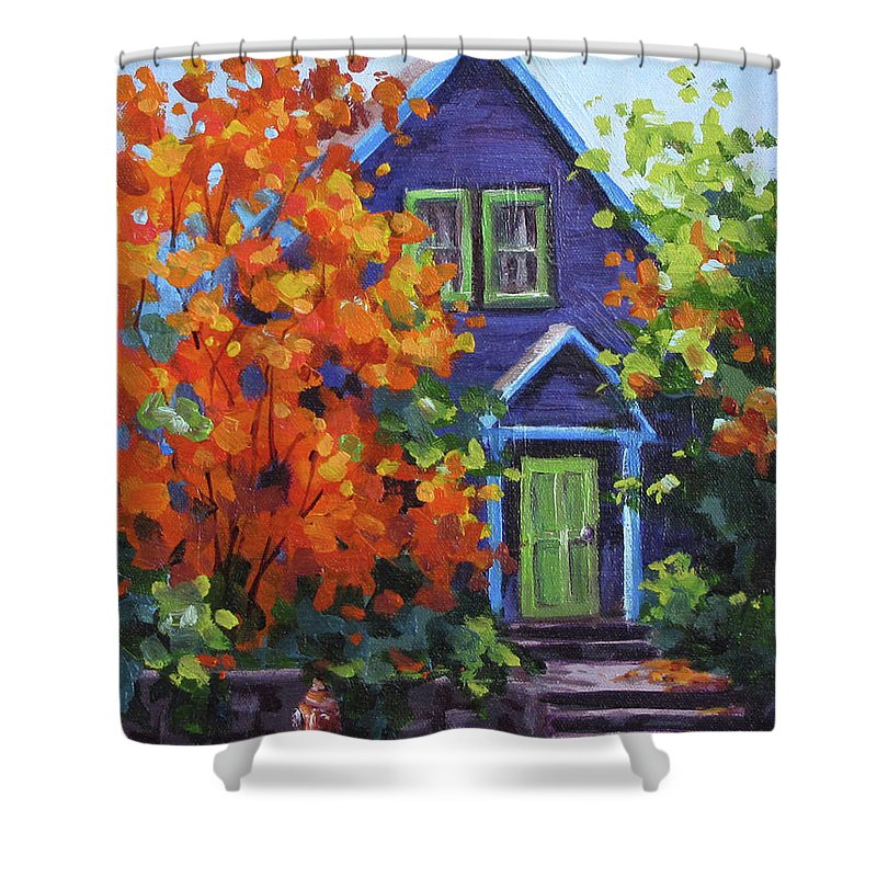 Color Shower Curtain featuring the painting Fall In The Neighborhood by Karen Ilari