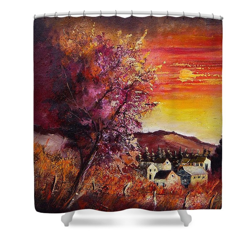Autumn Shower Curtain featuring the painting Fall In Villers by Pol Ledent