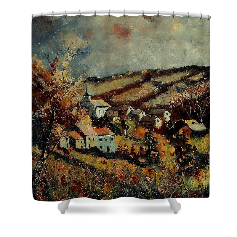Landscape Shower Curtain featuring the painting Fall Landscape 670110 by Pol Ledent