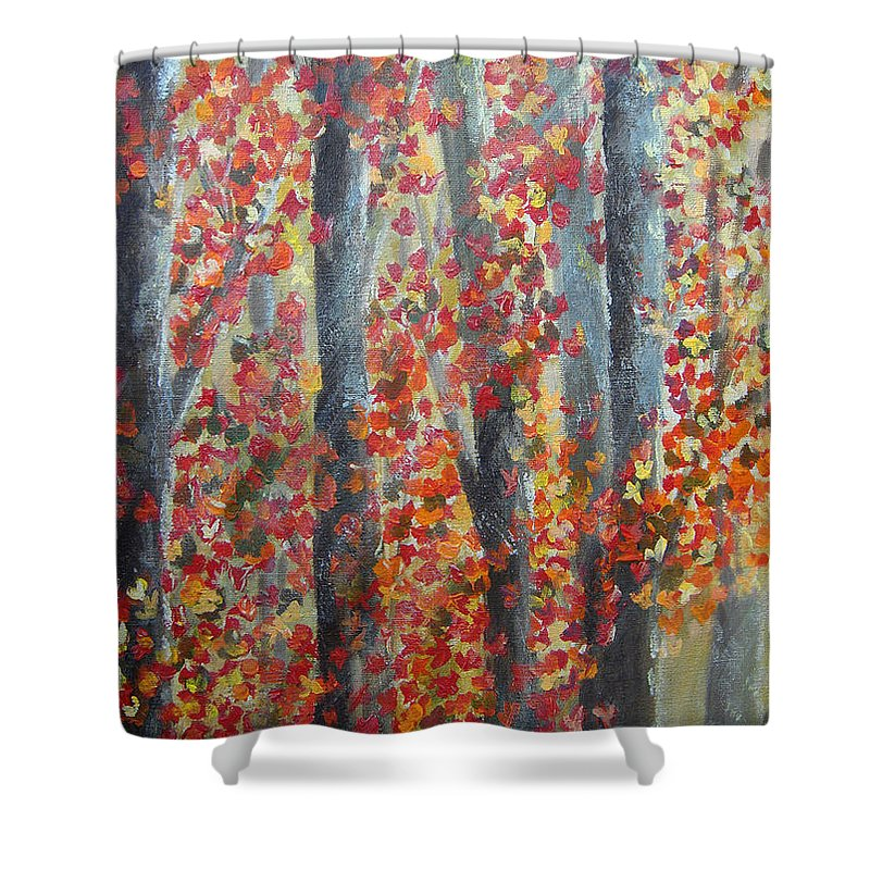 Trees Shower Curtain featuring the painting Fall Leaves by Donna Blackhall