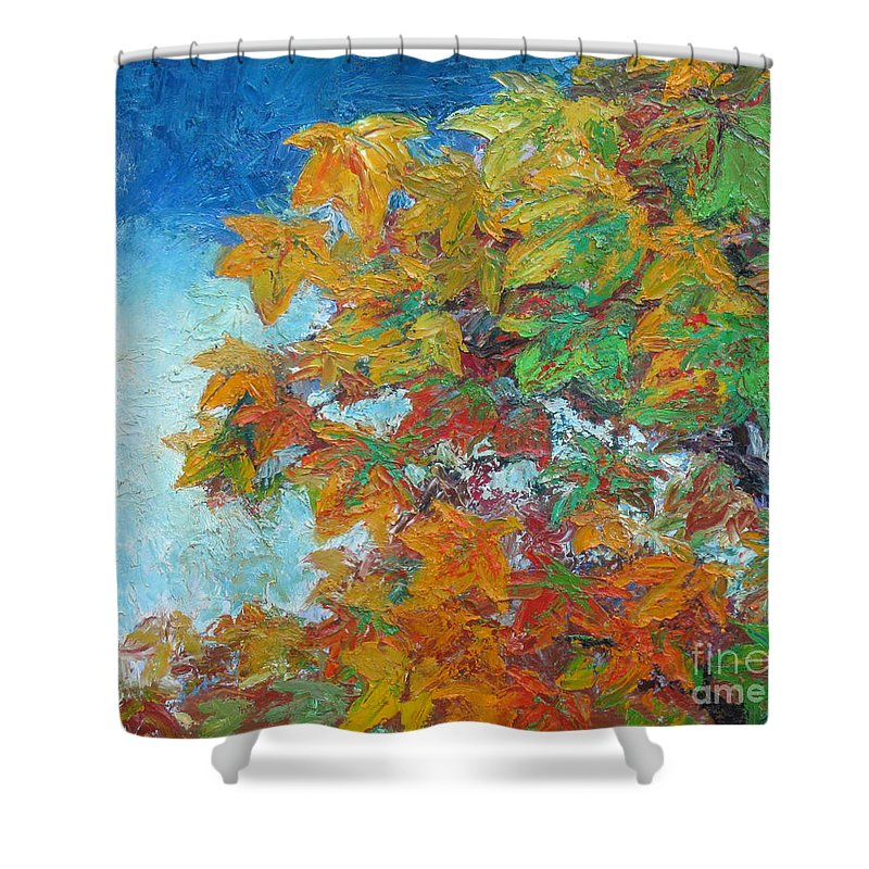 Fall Shower Curtain featuring the painting Fall Leaves by Meihua Lu