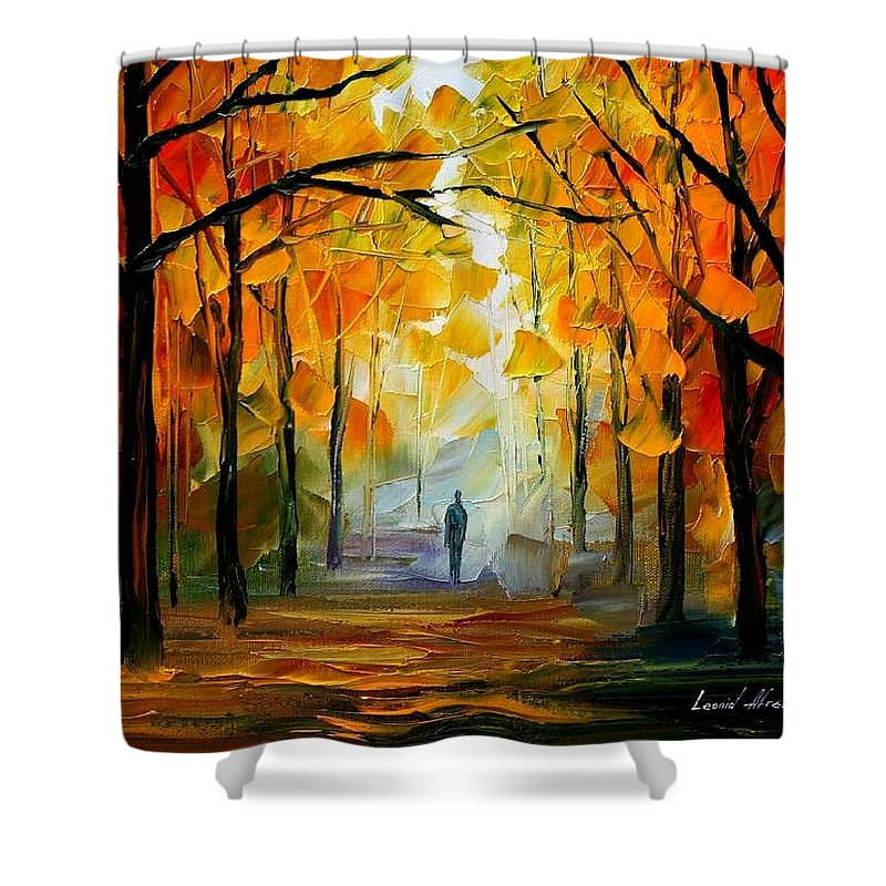Landscape Shower Curtain featuring the painting Fall by Leonid Afremov