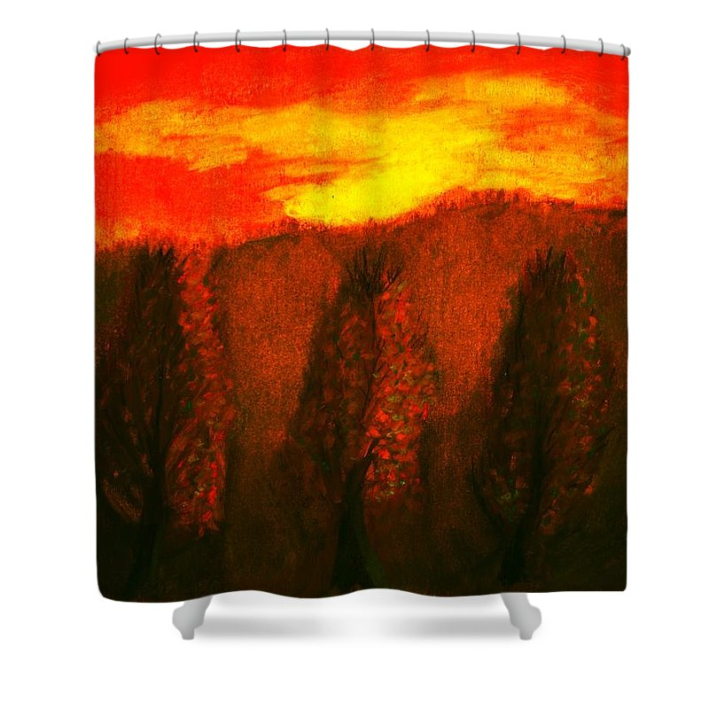 Sky Shower Curtain featuring the pastel Fall by Melvin Moon