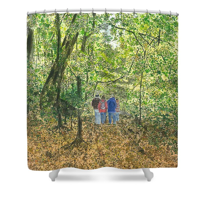 Watercolor Shower Curtain featuring the painting Fall Nymphs - IIi by Joel Deutsch