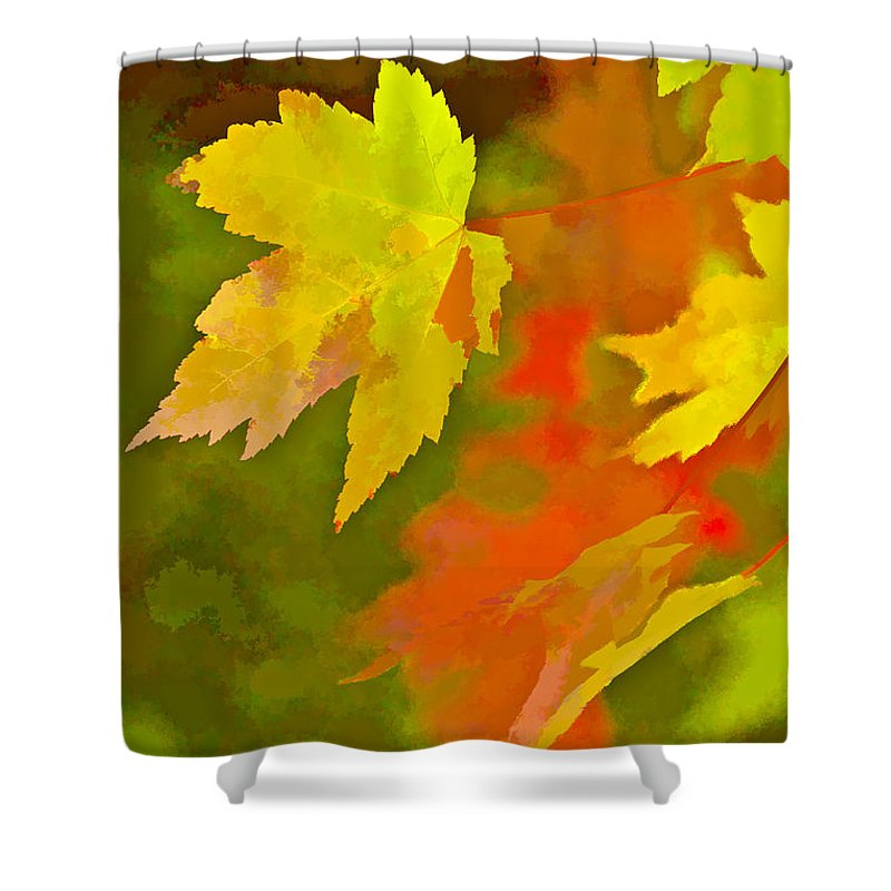 Fall Shower Curtain featuring the digital art Fall Of Leaf by Ches Black