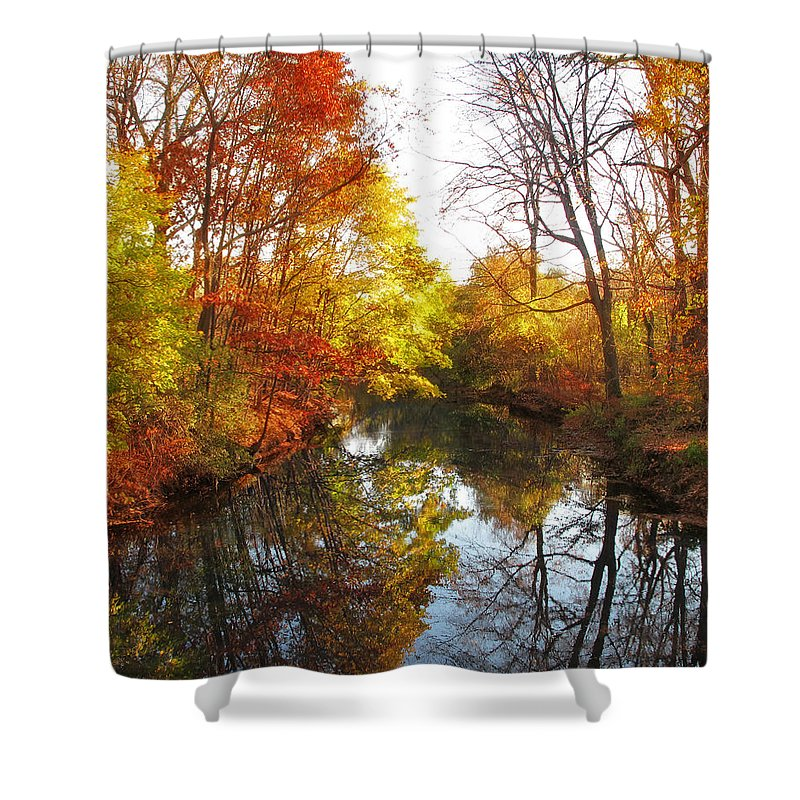 Landscape Shower Curtain featuring the photograph Fall Reflected by Jessica Jenney