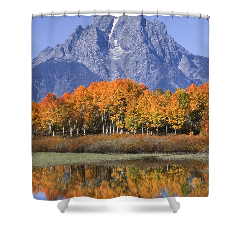 Grand Tetons Shower Curtain featuring the photograph Fall Reflection At Oxbow Bend by Sandra Bronstein