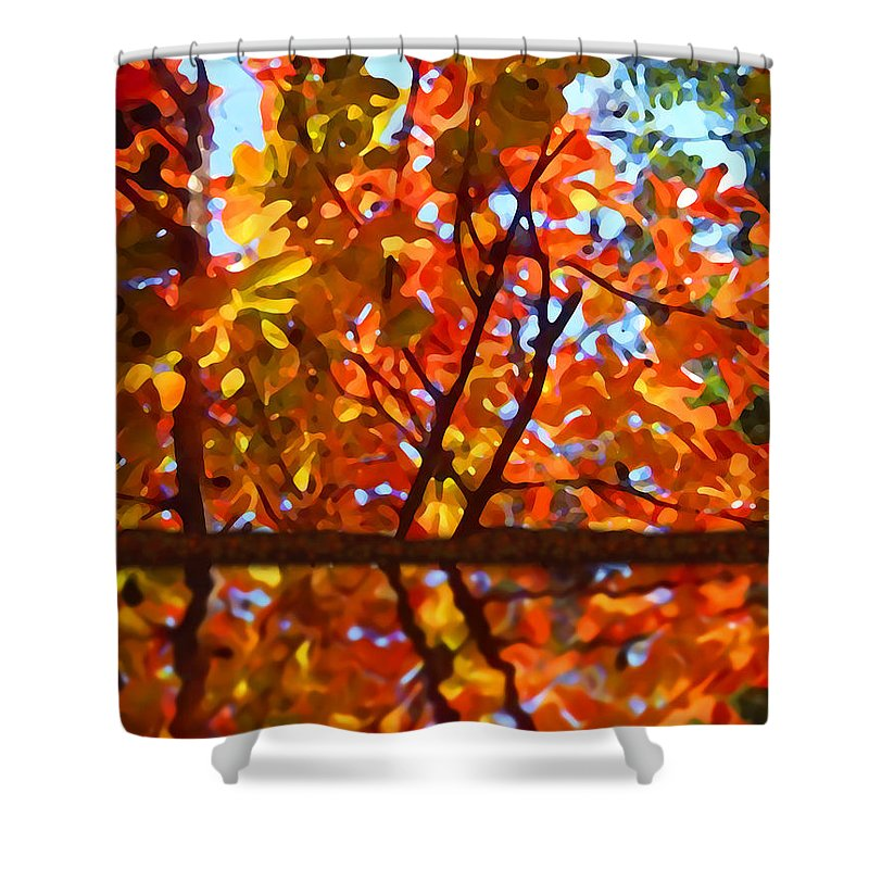 Trees Shower Curtain featuring the painting Fall Reflextion by Amy Vangsgard