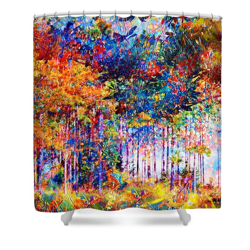 Abstract Landscape Shower Curtain featuring the mixed media Fall by Robin Monroe