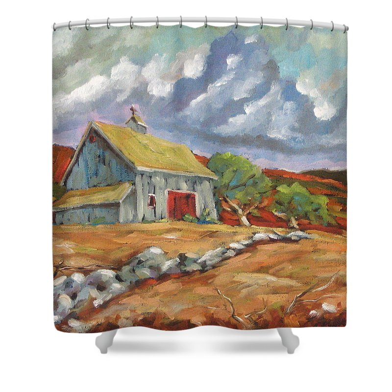 Farm Shower Curtain featuring the painting Fall Scene by Richard T Pranke