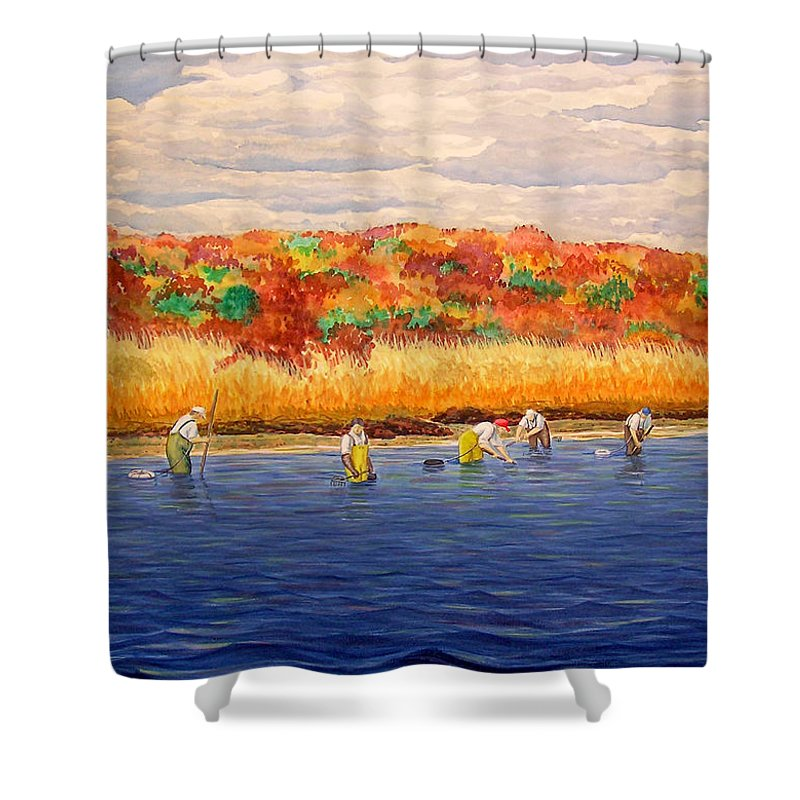Watercolor Shower Curtain featuring the painting Fall Shellfishing In New England by Charles Harden